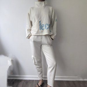 le coq sportif vintage white embroidered sweatsuit